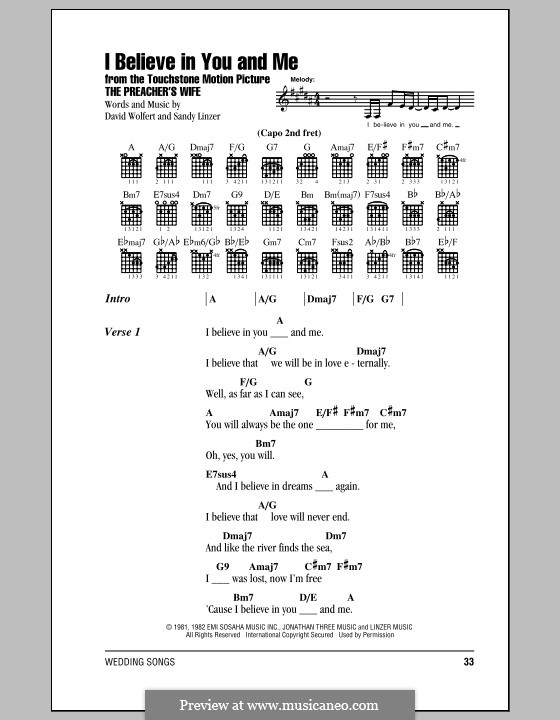 I Believe in You and Me (from The Preacher's Wife): Lyrics and chords (The Four Tops) by David Wolfert, Sandy Linzer