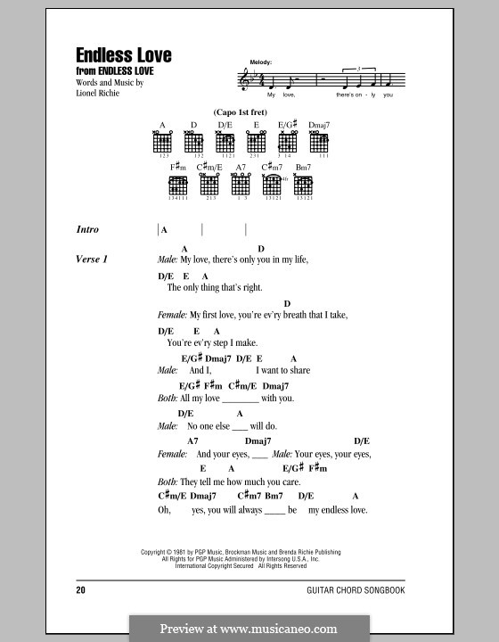 Endless Love By L Richie Sheet Music On Musicaneo