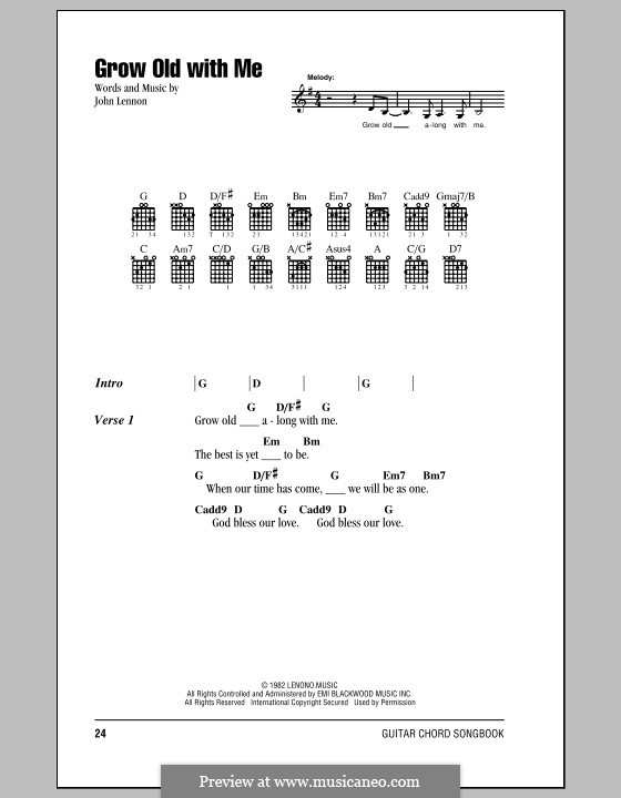 Grow Old With Me: Lyrics and chords by John Lennon