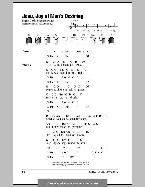 Jesu, Joy of Man's Desiring: Lyrics and chords by Johann Sebastian Bach