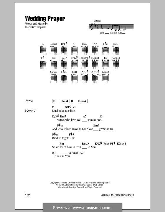 Wedding Prayer: Lyrics and chords by Mary Rice Hopkins