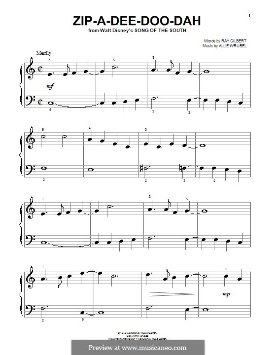 Zip-A-Dee-Doo-Dah: For piano (with fingering) by Allie Wrubel