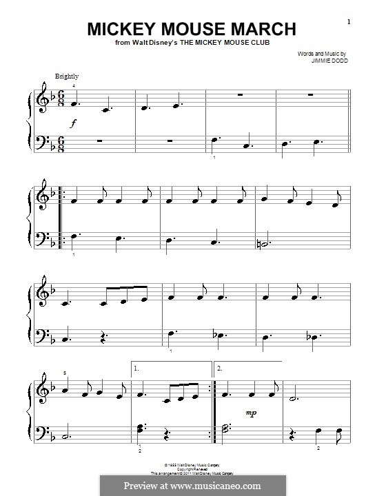 Mickey Mouse March: For easy piano by Jimmie Dodd