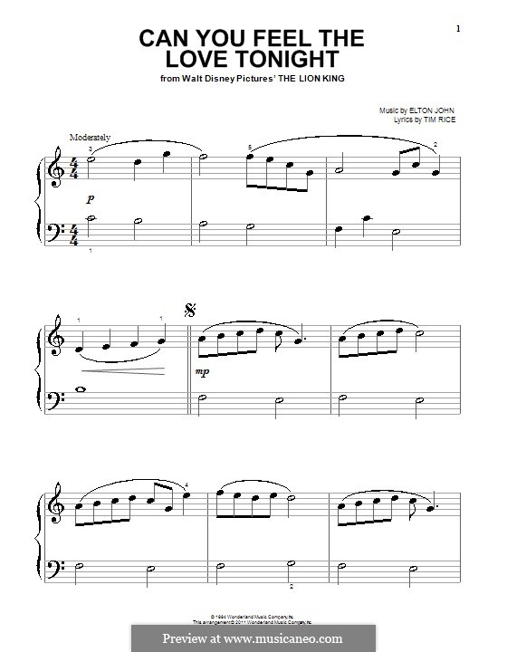 Can You Feel the Love Tonight (from The Lion King), for Piano: High quality sheet music by Elton John