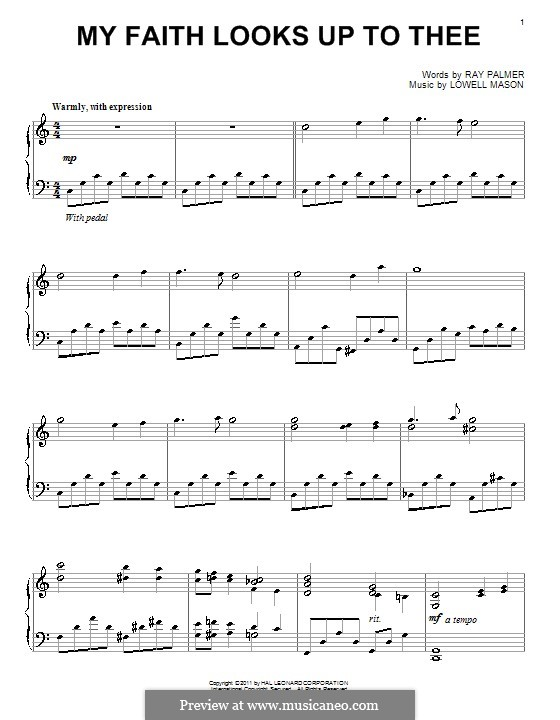 My Faith Looks Up to Thee: For piano by Lowell Mason