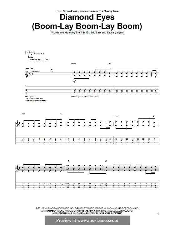 Diamond Eyes (Boom-Lay Boom-Lay Boom): For guitar with tab (Shinedown) by Brent Smith, Eric Bass, Zachary Myers