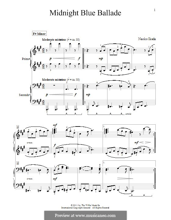 Midnight Blue Ballade: For piano four hands by Naoko Ikeda