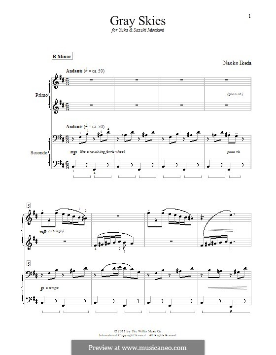 Gray Skies: For piano four hands by Naoko Ikeda