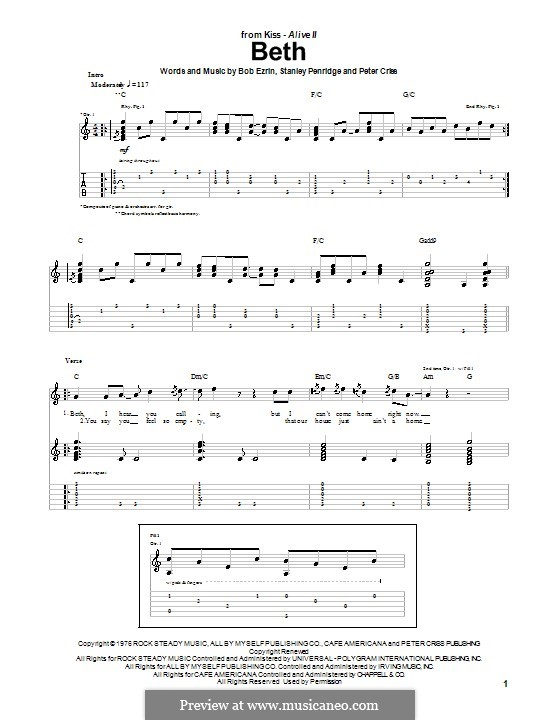 Beth: For guitar with tab by Bob Ezrin, Peter Criss, Stan Penridge