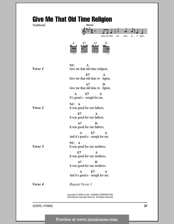 Give Me That Old Time Religion: Lyrics and chords by folklore