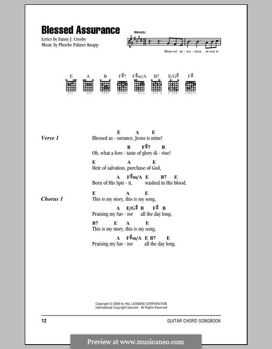 Blessed Assurance: Lyrics and chords by Phoebe Palmer Knapp