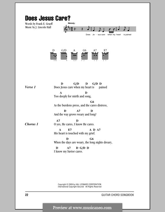 Does Jesus Care?: Lyrics and chords by J. Lincoln Hall