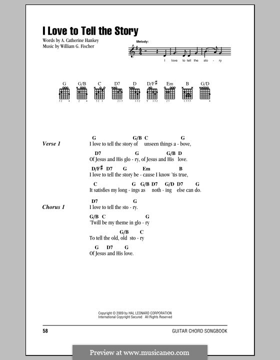 I Love to Tell the Story: Lyrics and chords by William G. Fischer