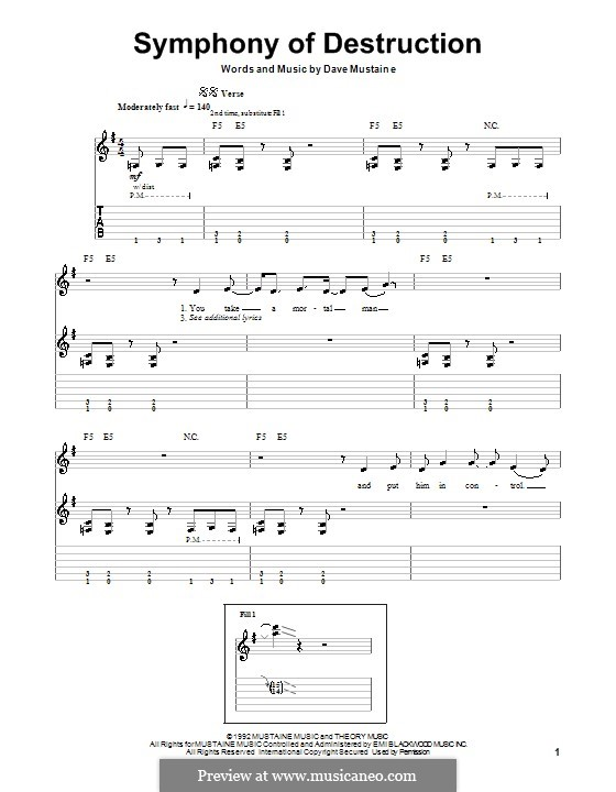 Symphony of Destruction (Megadeth): For guitar by Dave Mustaine