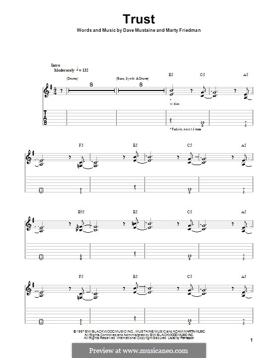 Trust (Megadeth): For guitar with tab by Dave Mustaine, Martin Friedman
