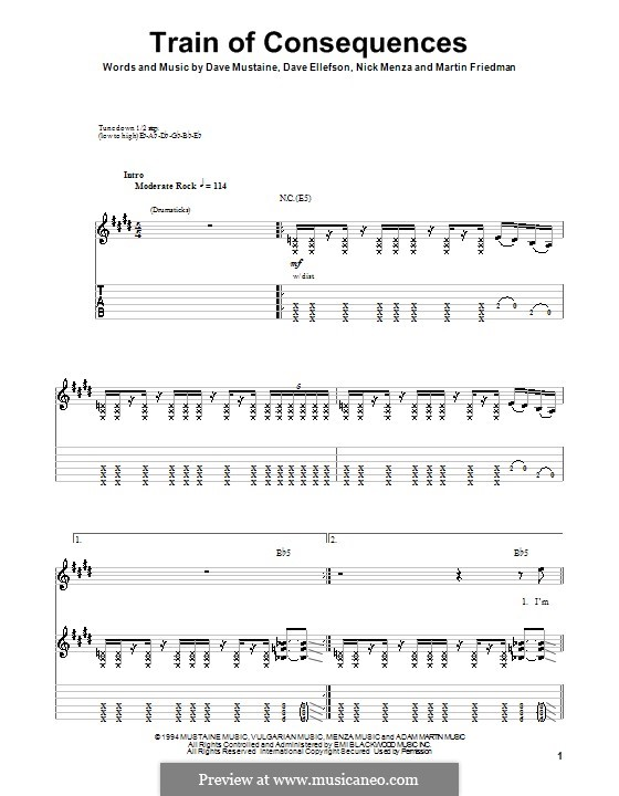 Train of Consequences (Megadeth): For guitar with tab by Dave Ellefson, Dave Mustaine, Martin Friedman, Nick Menza