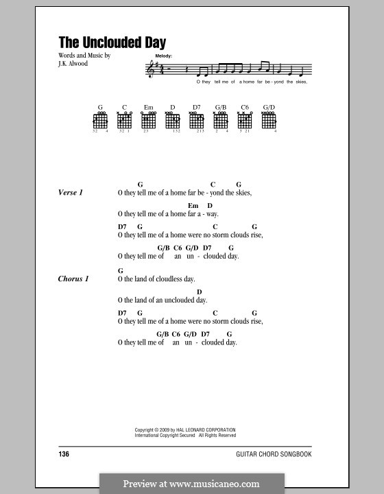 The Unclouded Day (from Heavenly Home: Three American Songs): Lyrics and chords by J.K. Alwood