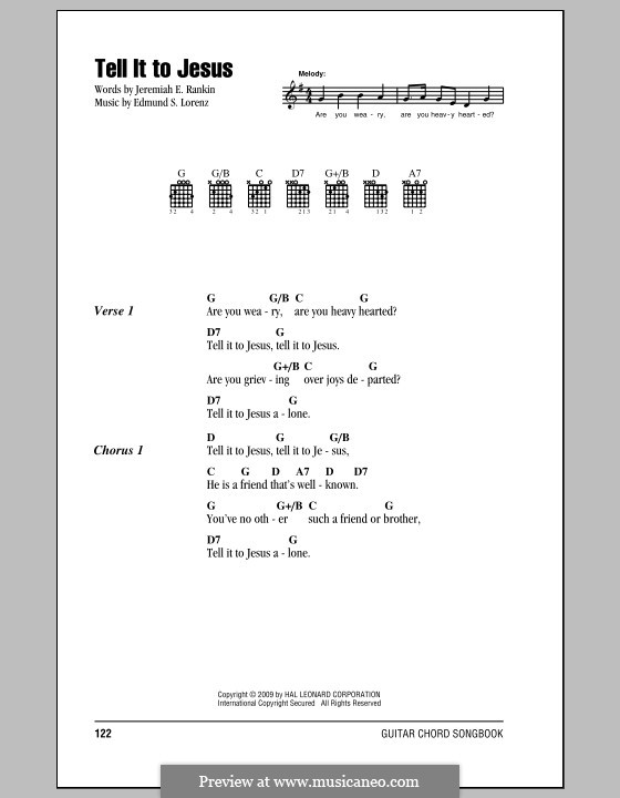 Tell it to Jesus: Lyrics and chords by Edmund Simon Lorenz
