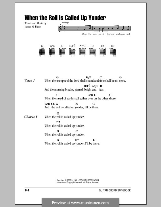 When the Roll is Called: Lyrics and chords by James Milton Black