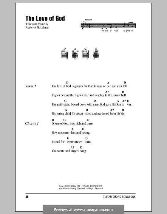 The Love of God: Lyrics and chords by Frederick M. Lehman