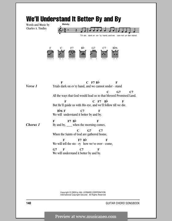 We'll Understand It Better By and By: Lyrics and chords by Charles A. Tindley