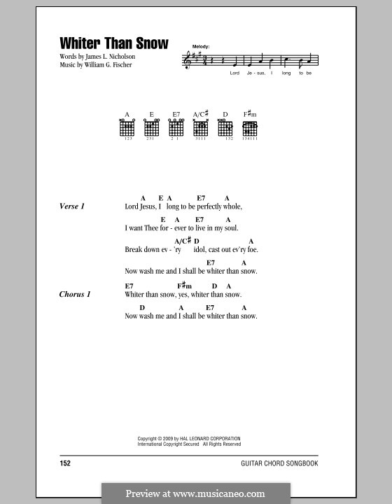 Whiter Than Snow: Lyrics and chords by William G. Fischer