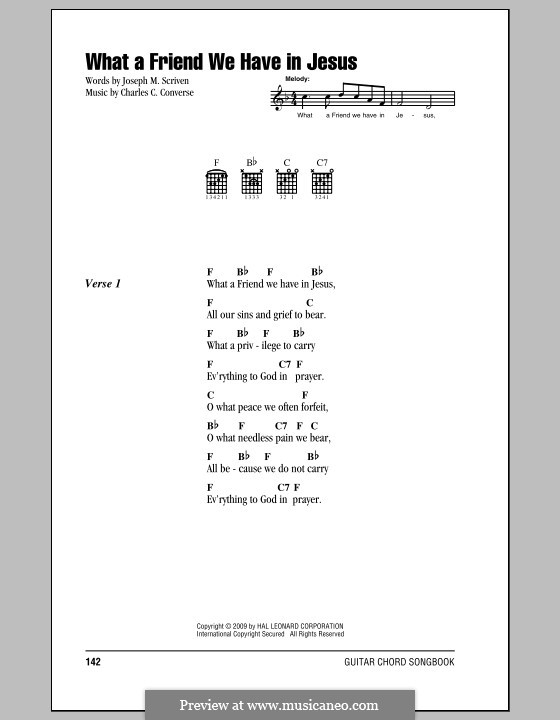 What a Friend We Have in Jesus (Printable): Lyrics and chords by Charles Crozat Converse