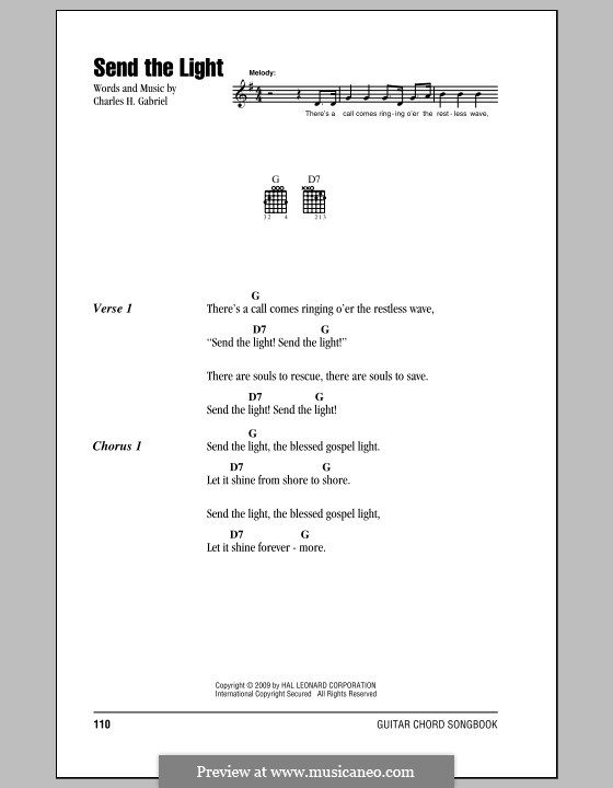Send the Light: Lyrics and chords by Charles Hutchinson Gabriel