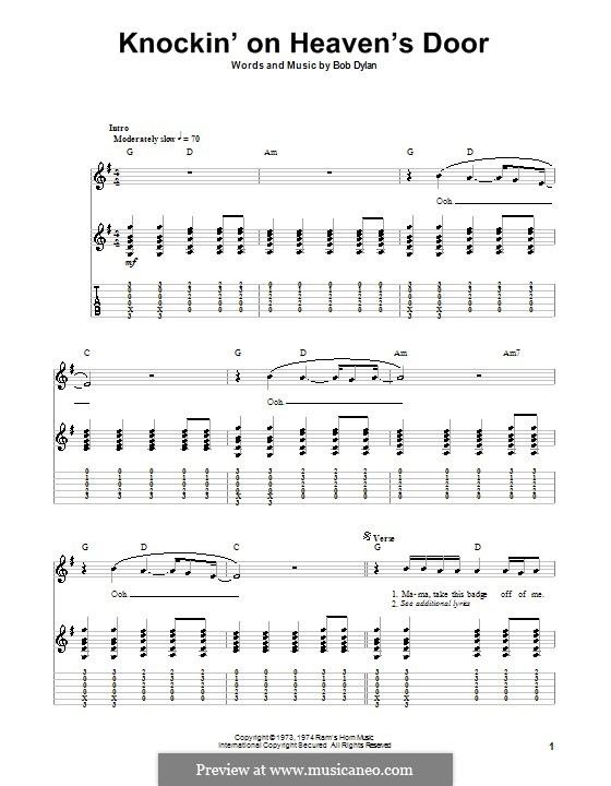 Knockin' on Heaven's Door: For guitar with tab by Bob Dylan
