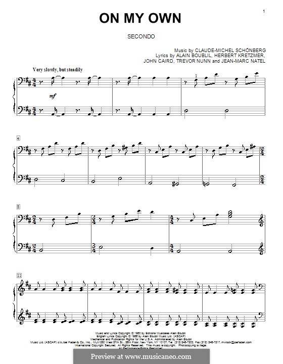 On My Own: For piano four hands by Claude-Michel Schönberg
