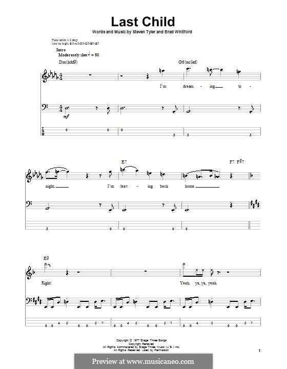 Last Child (Aerosmith): For bass guitar with tab by Brad Whitford, Steven Tyler