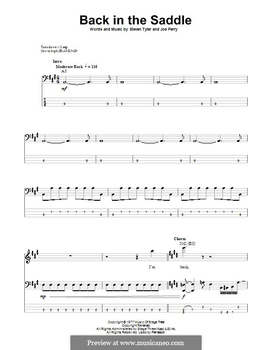 Back in the Saddle (Aerosmith): For bass guitar with tab by Joe Perry, Steven Tyler
