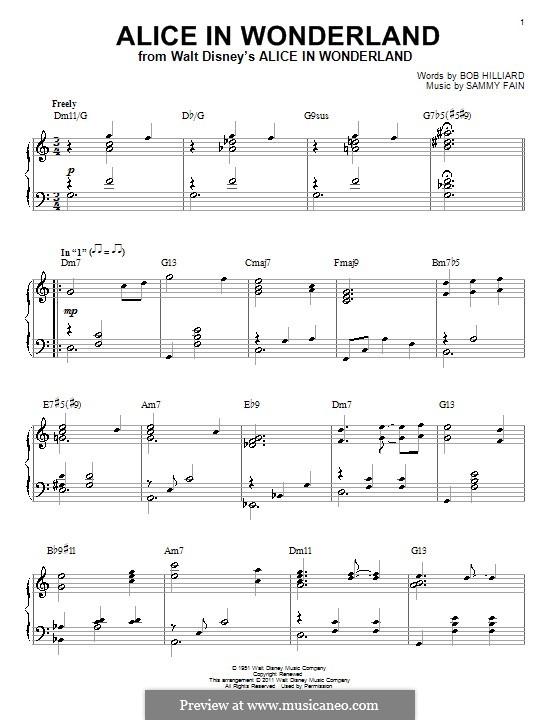 Alice in Wonderland (Bill Evans): For piano (D Minor) by Bob Hilliard, Sammy Fain