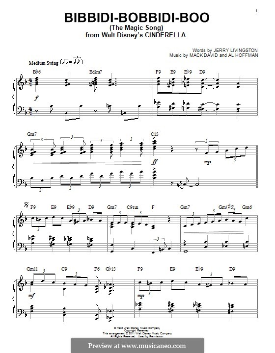Bibbidi-Bobbidi-Boo (The Magic Song): For piano by Al Hoffman, Mack David