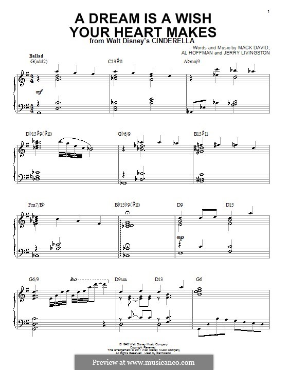 A Dream Is a Wish Your Heart Makes (from Disney's Cinderella): For piano (with chords) by Al Hoffman, Jerry Livingston, Mack David