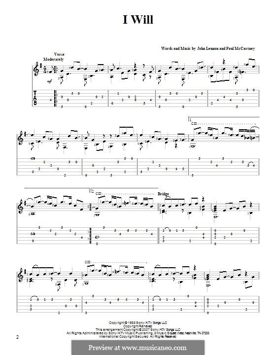 I Will (The Beatles): For guitar with tab by John Lennon, Paul McCartney