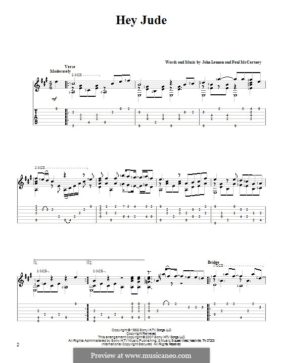 Hey Jude (The Beatles), for One Instrument: For guitar with tab (A Major) by John Lennon, Paul McCartney