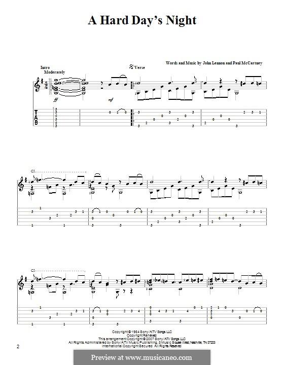 A Hard Day's Night (The Beatles): For guitar by John Lennon, Paul McCartney