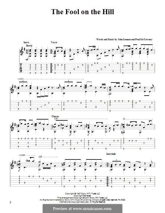 The Fool on the Hill (The Beatles): For guitar with tabulature by John Lennon, Paul McCartney