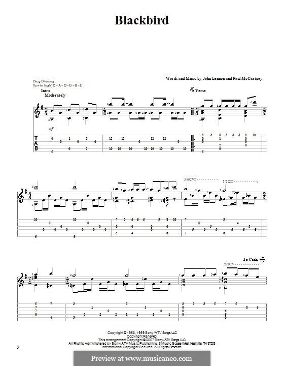 Blackbird (The Beatles): For guitar with tablature by John Lennon, Paul McCartney
