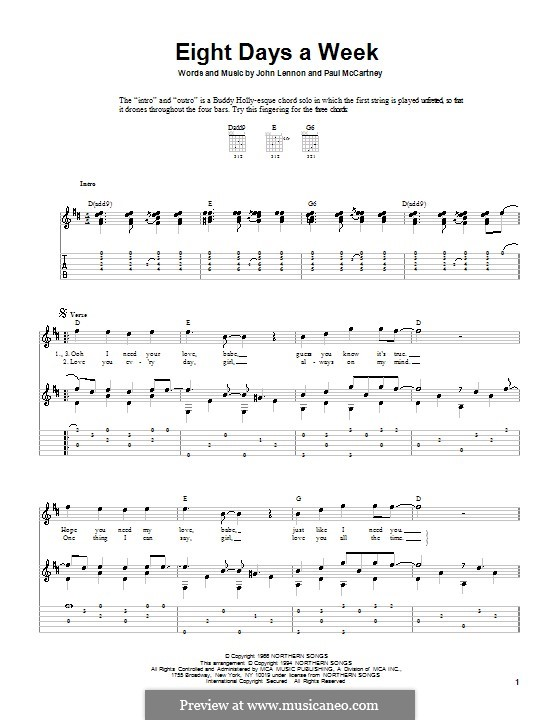 Eight Days a Week (The Beatles): For guitar with tabulature by John Lennon, Paul McCartney