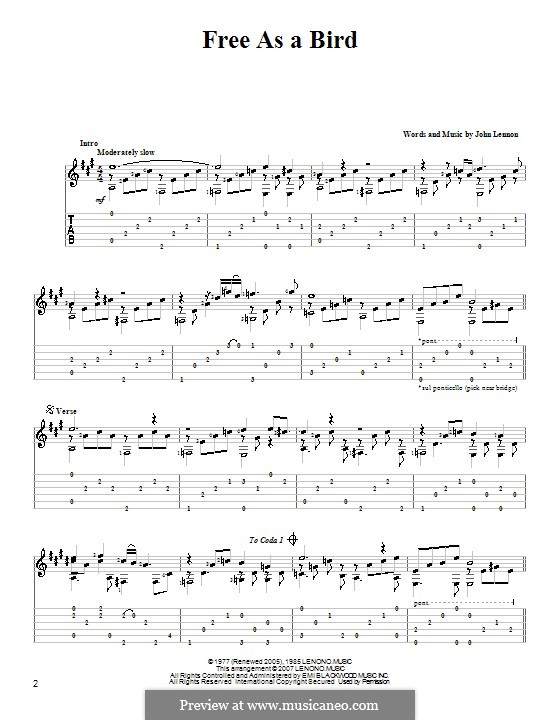 Free as a Bird (The Beatles) : For guitar with tab by John Lennon