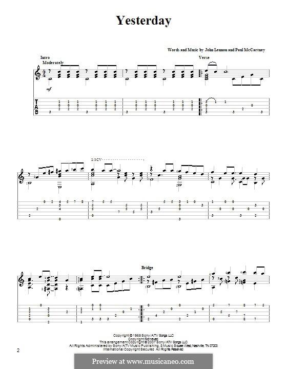 Yesterday (The Beatles): For guitar with tabulature (D Major) by John Lennon, Paul McCartney