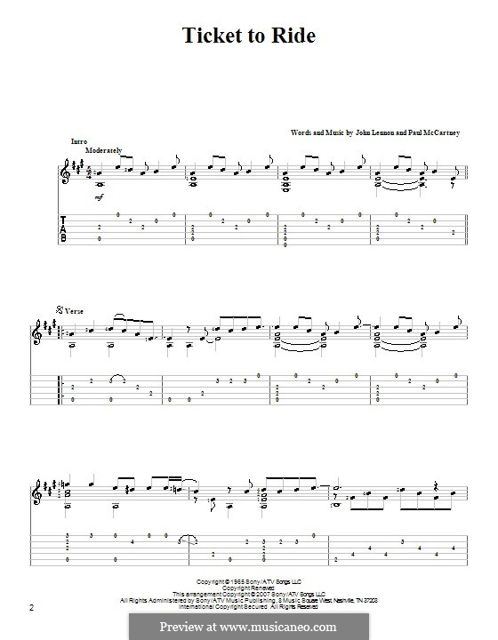 Ticket to Ride (The Beatles): For guitar with tabulature (high quality sheet music) by John Lennon, Paul McCartney