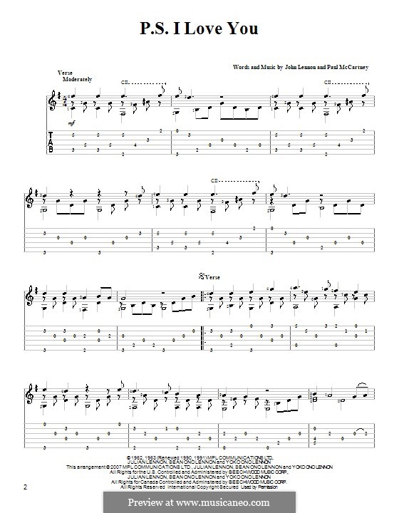 P.S. I Love You (The Beatles): For guitar with tab by John Lennon, Paul McCartney