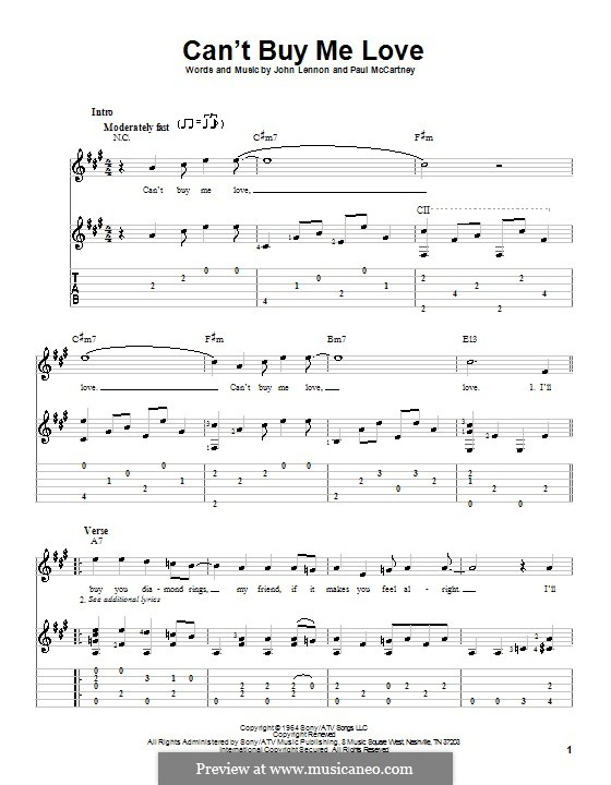 Can't Buy Me Love (The Beatles): For guitar with tab by John Lennon, Paul McCartney