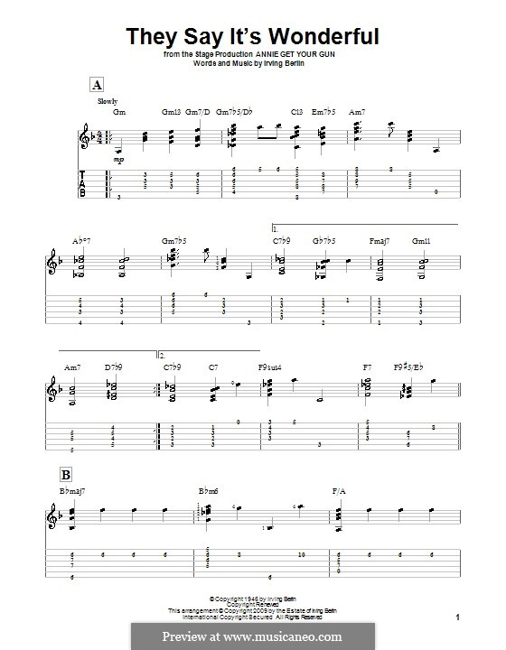 They Say It's Wonderful: For guitar by Irving Berlin