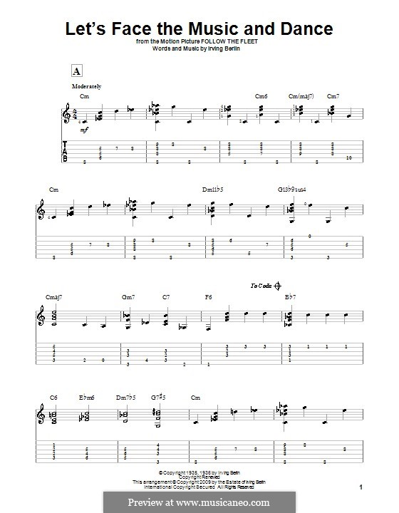 Let's Face the Music and Dance: For guitar with tab by Irving Berlin