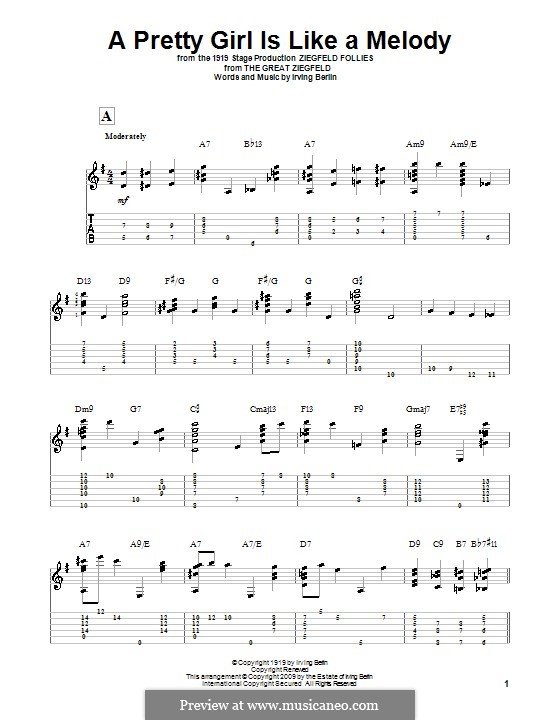 A Pretty Girl is Like a Melody: For guitar by Irving Berlin