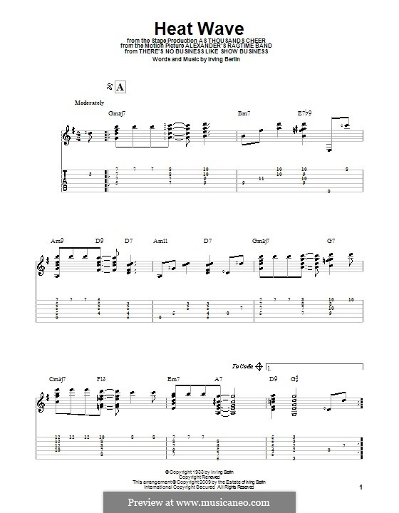 Heat Wave: For guitar with tab by Irving Berlin